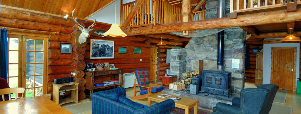 The open plan living area at the Log House