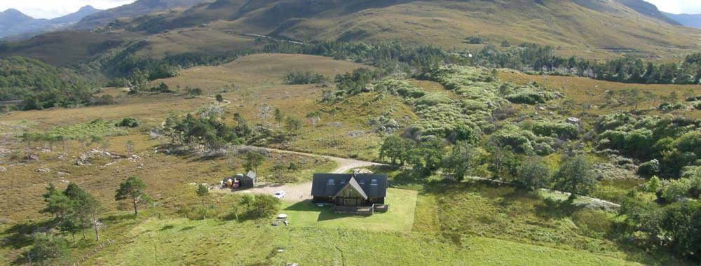 Looking down on the Log House from Ben Alligin